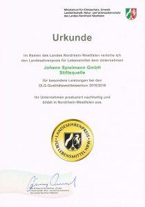 Urkunde zum Landesehrenpreis 2016