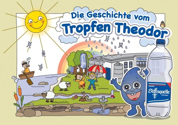 Theodor ist ein wagemutiger Wassertropfen, der viele Abenteuer erlebt. Auf seiner Reise fliegt er hoch oben in die Wolken und kriecht tief unten in die Erde. In der Abfüllanlage der Stiftsquelle findet er schließlich heraus, wie das Mineralwasser in die Flaschen kommt.