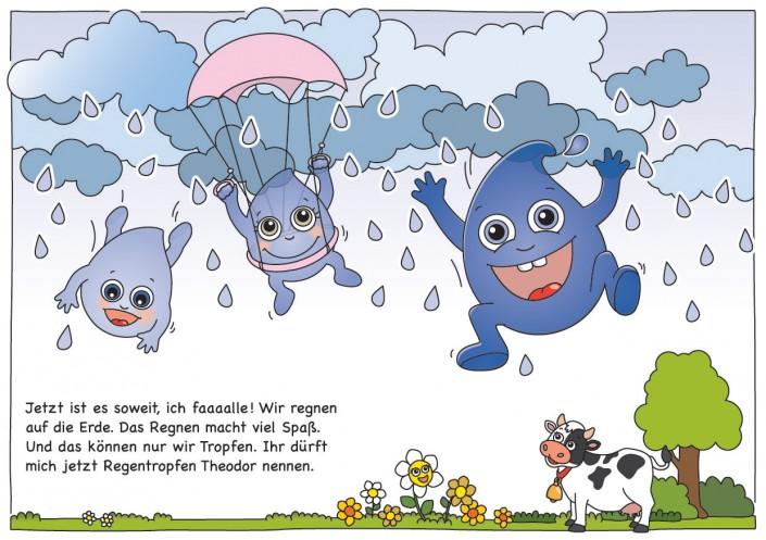 Jetzt ist es soweit, ich faaaalle ! Wir regnen auf die Erde. Das Regnen macht viel Spaß. Und das können nur wir Tropfen. Ihr dürft mich jetzt Regentropfen Theodor nennen.