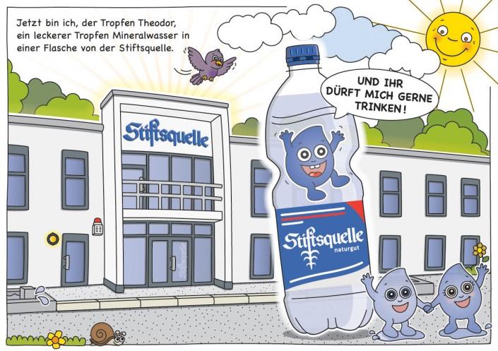 Jetzt bin ich, der Tropfen Theodor, ein leckerer Tropfen Mineralwasser in einer Flasche von der Stiftsquelle.
