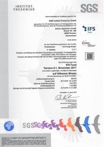 Stiftsquelle Natürliches Mineralwasser Zertifikat IFS Food