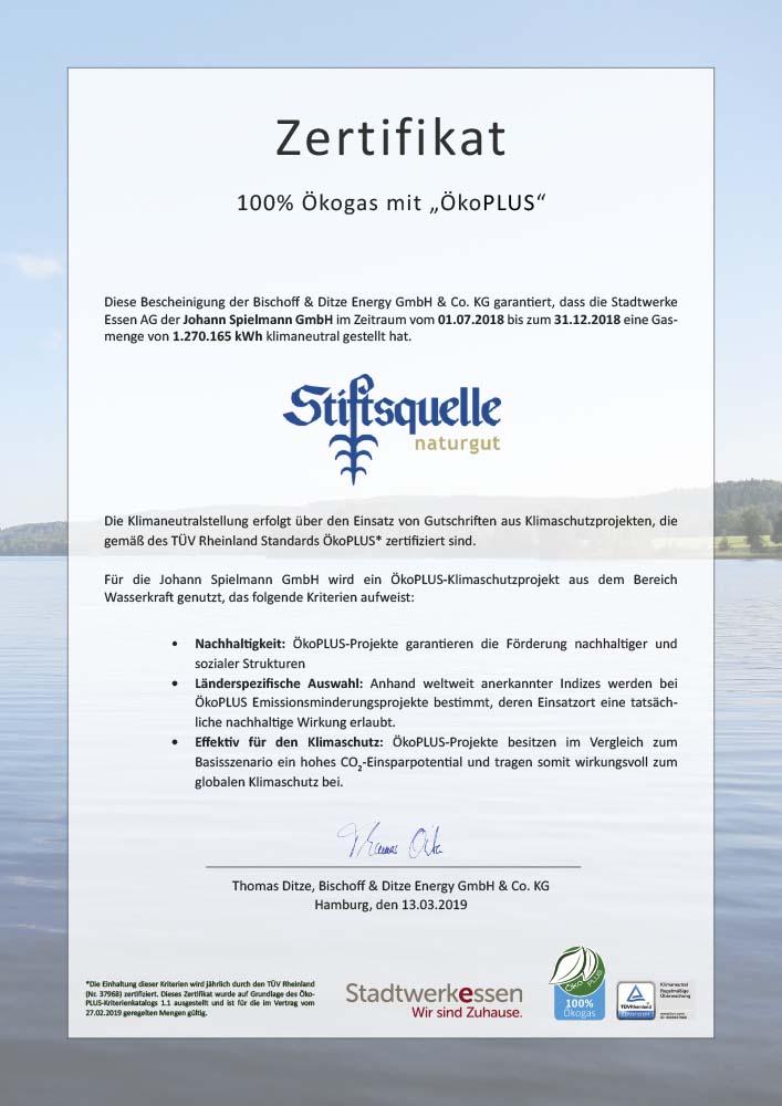 Zertifikat für die Nutzung von klimaneutralem Ökogas ÖkoPLUS