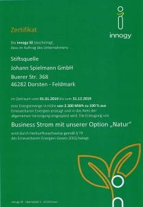 Zertifikat für die Verwendung von Ökostrom